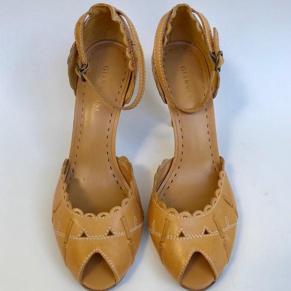 Gianni Bini Shoes | Camel Leather Peep